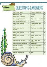 English Worksheets: General questions and answers matching (young learners)