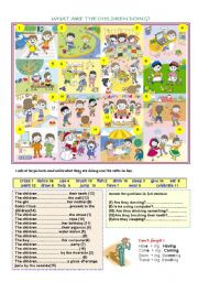 English Worksheet: what are they doing? (1)