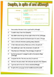 despite, in spite of, although. GRAMMAR WORKSHEET 32