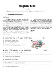 English Worksheets: Test on Reading Comprehension