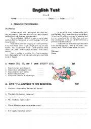 English Worksheet: Test on Reading Comprehension