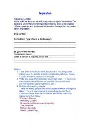English worksheet: Inspiration