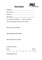 Esl Review Worksheets: book review template esl worksheet by lydiak,