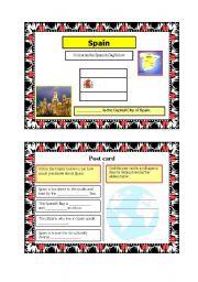 English Worksheet: Post card activity -  Spain (Part 2) 18.08.08
