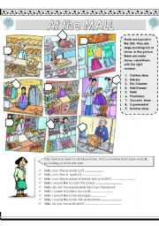 English Worksheet: At the mall (stores)