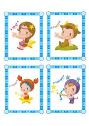 English Worksheet: lovely flashcard set - zodiac signs - part 1