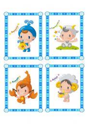 English Worksheet:  lovely flashcard set - zodiac signs - part 3