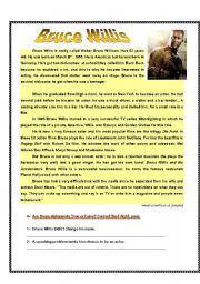English Worksheets: Bruce Willis- reading comprehension