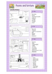 English Worksheets: The House Rooms and Furniture