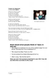 English Worksheet: Song-Tears in heaven-Eric Clapton