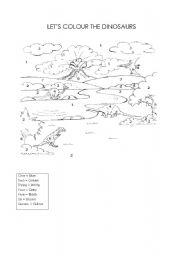English Worksheet: let�s colour the dinosaurs