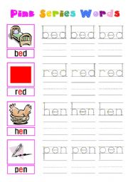 English Worksheets: pink series words-short