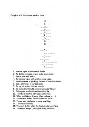 English Worksheets: Classroom Actions acrostic