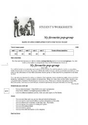 English Worksheets: My favourite popgroup