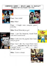 English Worksheet: Which game is better? (Comparative/Superlative)