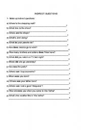 English Worksheet: Indirect Questions