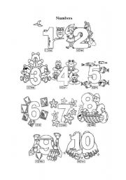 English Worksheets: Numbers 1 - 10