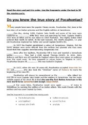 English Worksheet: pocahontas story