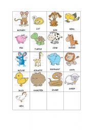 English Worksheet: Memory Games - Small Animals