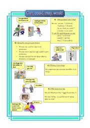 English Worksheet: Can, could, may, would (21-08-08)