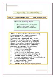 English Worksheets: Suggesting  Why don�t we...? Shall I ...? How about ...?