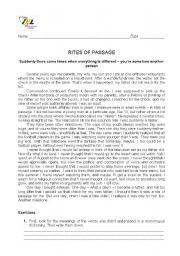 English Worksheets: Rites of passage