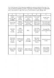 English worksheet: Bingo