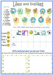English Worksheets: likes and dislikes (using sports vocabulary)