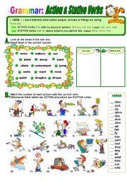 English Worksheet: Action and Stative Verbs