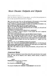 English Worksheet: NOUN CLAUSES SUBJECTS AND OBJECTS