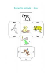 English Worksheets: Domestic animals-dice