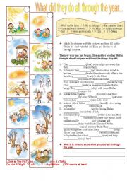 English Worksheet: Simple Past Tense.(2pages)