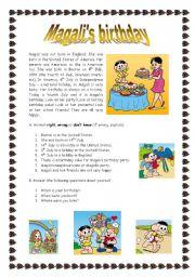 English Worksheet: Magali�s birthday (22.08.08)