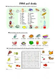 English worksheet: FOOD and DRINKS (40 words) vocabulary