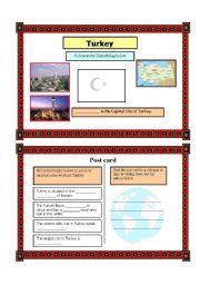 English Worksheet: Post card activity- Turkey (Part 4) 21.08.08
