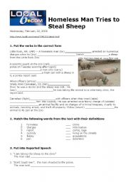 English Worksheets: Homeless Man Tries to Steal Sheep