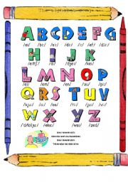 English Worksheet: The Alphabet song (in colours)