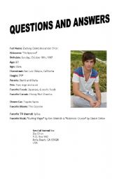 English Worksheets: Zack Efron Interview