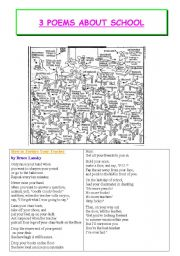 English Worksheet: poems about school