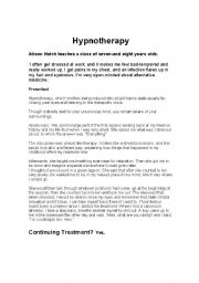 English Worksheets: Reading Comprehension. Hypnotherapy Text