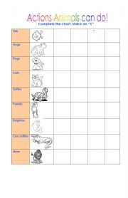 English Worksheet: Actions animals can do