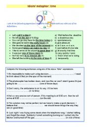 English Worksheet: idiom/ metaphor :Time