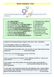 English Worksheet: idiom/ metaphor :Time