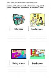 English Worksheets: Match things to appropriate rooms