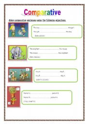 English Worksheet: Comparative-opposite adjectives