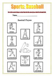 English Worksheet: Sports: Baseball