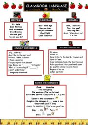 English Worksheet: Classroom Language Vocabulary
