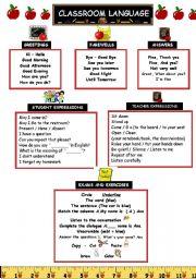 English Worksheet: Classroom Language Vocabulary