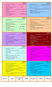 English Worksheets: Conjunctions bingo