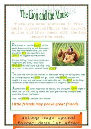 photograph relating to The Lion and the Mouse Story Printable named The lion and the mouse - tale and a great deal of functions! - ESL